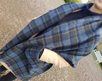 Irish tweed shawl, oversized scarf, stole - navy/blue/yellow tartan, plaid check - 100% pure new wool - hand fringed - HANDMADE IN IRELAND