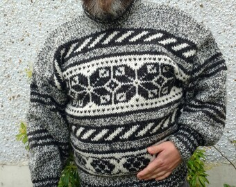 Irish hand knitted sweater-FREE WORLDWIDE SHIPPING- gray,black&white - 100% raw organic wool - undyed - unprocessed- Hand knitted in Ireland