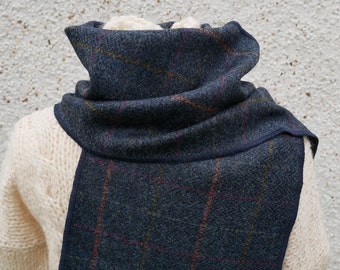 Irish tweed wool scarf-100% wool-navy/blue herringbone & overcheck-FREE SHIPPING-hand fringed-ready for shipping-unisex-Handmade in Ireland