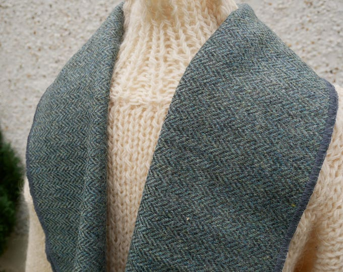 Irish tweed wool scarf -100% wool-duck egg green/grey herringbone-FREE SHIPPING-hand fringed-ready for shipping-unisex - Handmade in Ireland