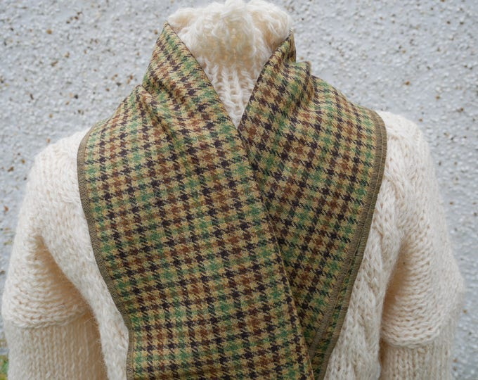Irish tweed wool scarf -100% wool- beige/green/brown houndstooth-FREE SHIPPING-hand fringed-ready for shipping- unisex - Handmade in Ireland