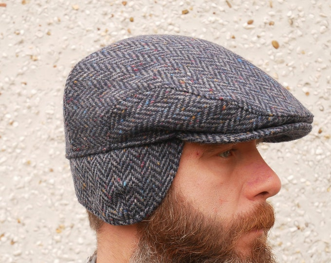 Traditional Irish tweed flat cap with foldable ear flaps - navy/blue speckled herringbone - 100% wool - padded - HANDMADE IN IRELAND