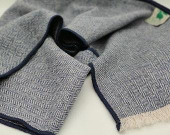 Irish tweed wool scarf - 100% pure new wool - navy blue / white herringbone - HANDMADE IN IRELAND