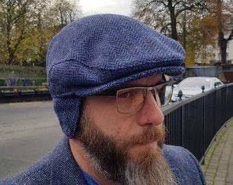 Traditional Irish tweed flat cap - speckled blue/navy herringbone - 100% wool -padded - with foldable ear flaps -HANDMADE IN IRELAND
