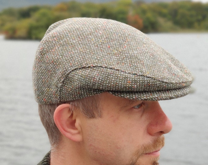 Donegal Irish tweed flat cap - green/grey with multicolour fleck - speckled - salt&pepper - 100% wool -padded - HANDMADE IN IRELAND