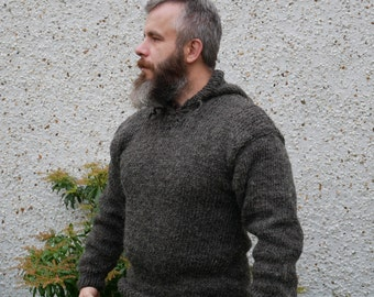 Authentic Irish Fisherman sweater-hooded-ribbed pattern-dark gray-100% raw wool-hand spoon yarn-unprocessed -UNDYED -Hand knitted in Ireland