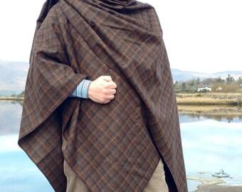 FREE WORLDWIDE SHIPPING - Irish tweed ruana, wrap, cape, - brown tartan with blue, navy, cream overcheck - 100% wool  - Handmade in Ireland