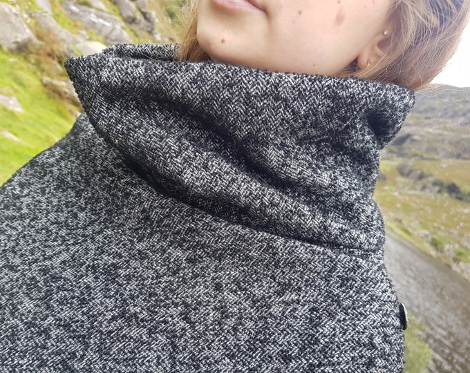 Irish woven wool poncho with turtleneck - pure new wool- black and white herringbone  / salt&pepper- unique texture - HANDMADE IN IRELAND