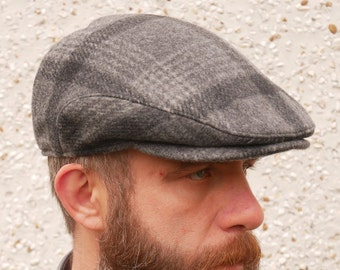 Traditional Irish tweed flat cap - grey/charcoal tartan/plaid check - 100% wool - padded - HANDMADE IN IRELAND