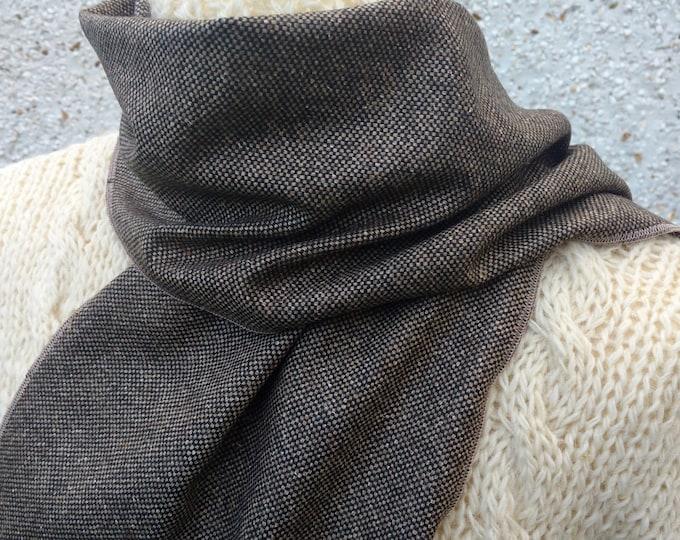 Irish tweed wool scarf -FREE WORLDWIDE SHIPPING- 100% wool - brown & beige dots/check - ready for shipping - unisex - Handmade in Ireland