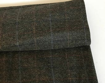 Irish tweed 100%wool fabric -dark moss herringbone/overcheck - 13,7ozs,390gms-price p/m- ready 4 shipping - MADE IN IRELAND