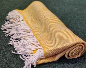 "Traditional Irish wool rug / throw / blanket - herringbone - with tassels- chunky & heavy - 100% pure new wool - 75"" X 51"" - MADE IN IRELAND"