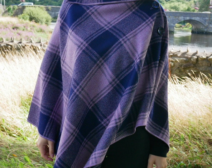 Versatile 3in1 - Irish lambswool  poncho, cape & shawl - purple / navy tartan - plaid check - ready for shipping - HANDMADE IN IRELAND