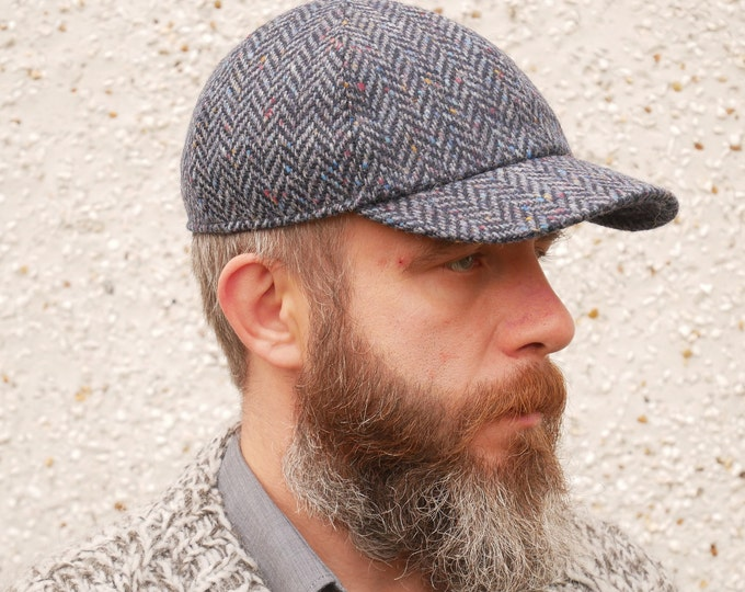 Irish tweed baseball cap - speckled navy/blue herringbone - 100% wool - padded - ready for shipping - HANDMADE IN IRELAND