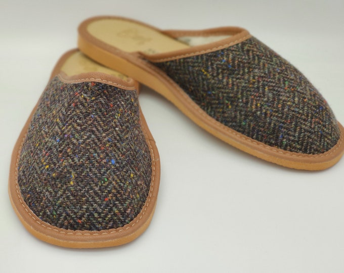 Gents Irish Donegal Tweed Slippers - forest green speckled herringbone - upper lined with wool - ready for shipping - MADE IN IRELAND