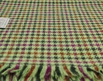 Irish lambswool scarf - 100% pure new wool - lemon green houndstooth - super soft - HANDMADE IN IRELAND