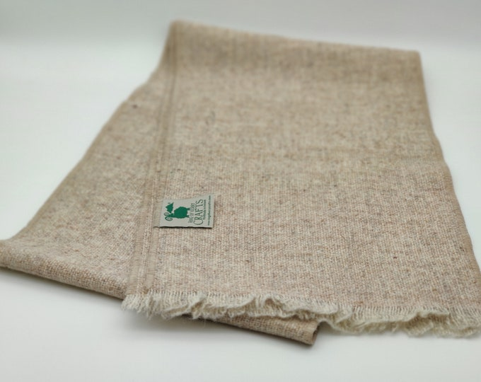 Irish tweed wool scarf - 100% pure new wool - undyed natural beige/cream - HANDMADE IN IRELAND