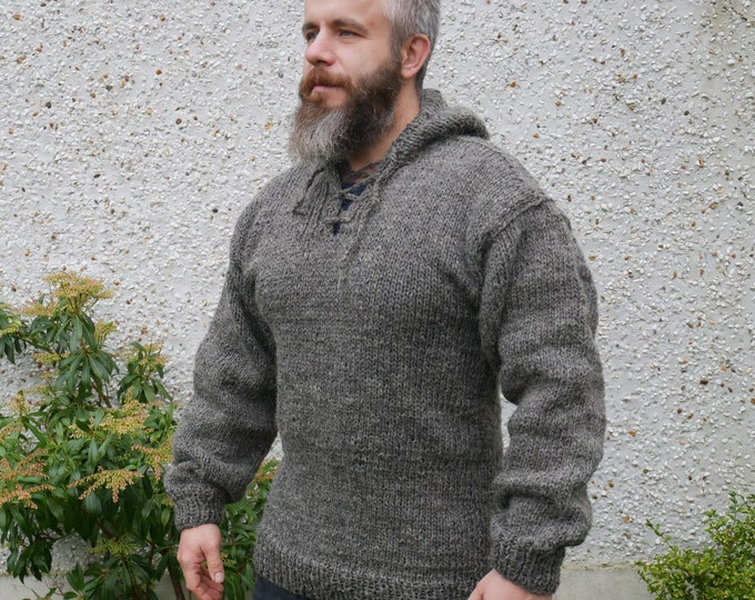 Authentic Irish Fisherman sweater -hooded -ribbed pattern-grey- 100% raw wool -hand spoon yarn -unprocessed -UNDYED -Hand knitted in Ireland