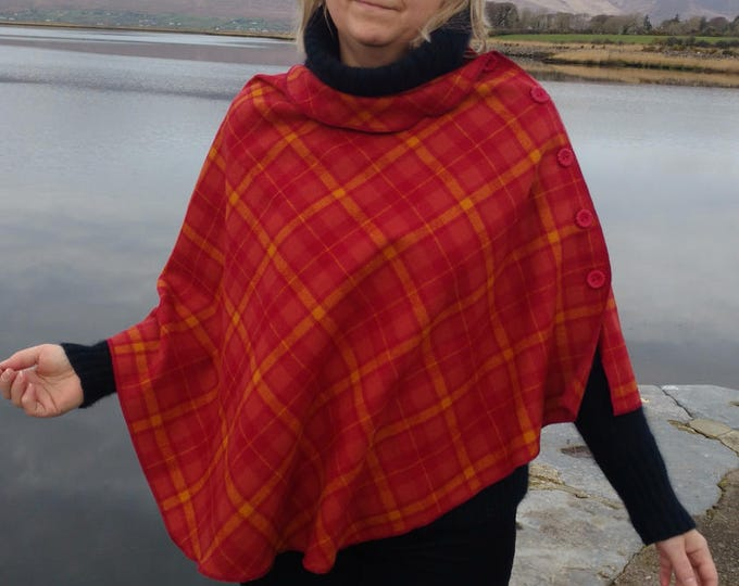 FREE SHIPPING -3in1-Irish tweed wool poncho,cape&shawl-100% wool-red/yellow tartan-2 shapes available-ready for shipping-Handmade in Ireland
