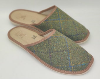 Irish Donegal tweed & genuine leather slippers - with durable sole - speckled green with check - ready for shipping - MADE IN IRELAND