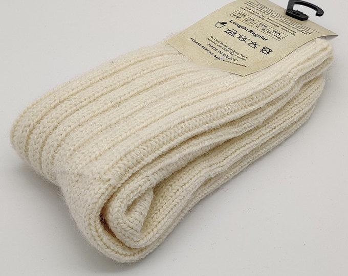 Irish thick wool socks - Snug socks in 100% pure new wool from Irish sheep - hiking socks - cream - MADE IN IRELAND