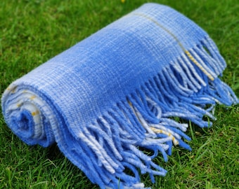 Traditional Irish blanket -  shadow check -blue/yellow/white - 100% pure new wool - thick & heavy - 3 sizes available - MADE IN IRELAND