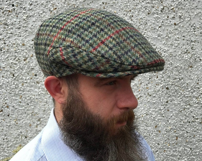 Traditional Irish flat cap-green houndstooth/overcheck - Irish tweed - 100% wool - with ear flaps - HANDMADE IN IRELAND
