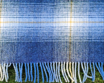 Traditional Irish blanket -  shadow check - blue/green - 100% pure new wool - chunky & heavy - 3 sizes available - MADE IN IRELAND