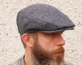 Traditional Irish tweed flat cap - navy/blue speckled herringbone - 100% wool - padded - HANDMADE IN IRELAND