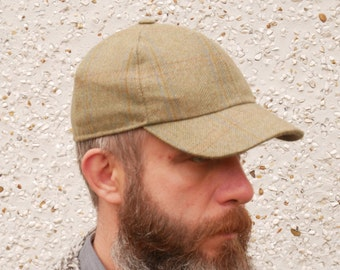 Irish tweed baseball cap - military green with blue/orange/brown overcheck - 100% wool - padded - ready for shipping - HANDMADE IN IRELAND