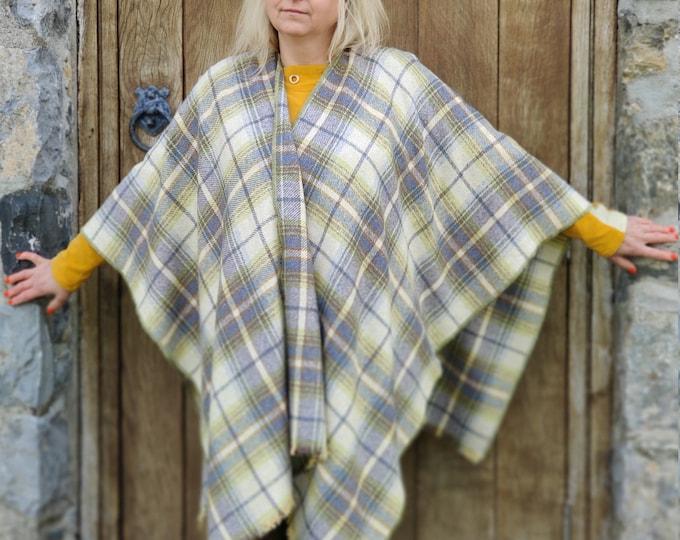 Burette silk ruana wrap - yellow/teal/grey/brown plaid check - tartan - perfect for sensitive skin - woven in Ireland - HANDMADE IN IRELAND
