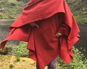 Irish tweed wool ruana, wrap, cape, coat, arisaid- red - lightweight fabric - 100% wool - ready for shipping - HANDMADE IN IRELAND