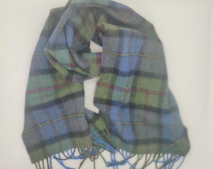Irish Soft Lambswool scarf - 100% Pure New Wool - green/blue/navy/purple - tartan/plaid check - very soft - unisex - HANDMADE IN IRELAND