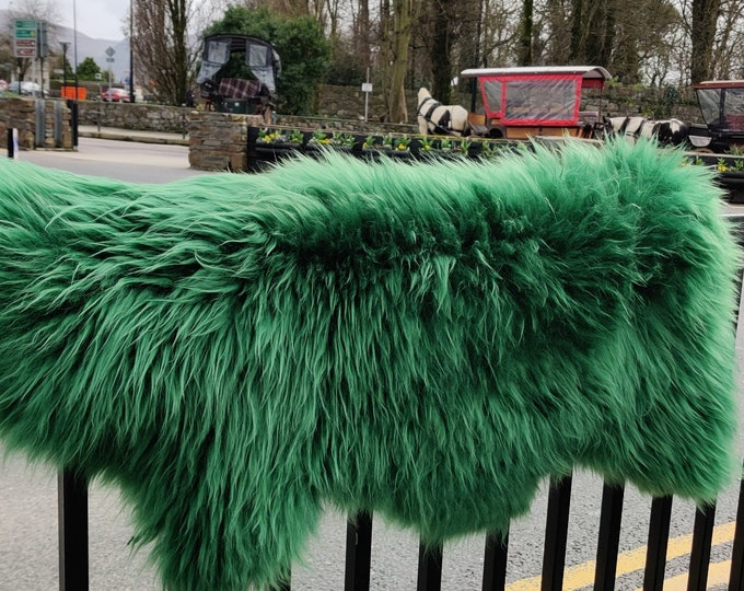 Genuine Irish sheepskin rug -  dyed Emerald green - really soft , thick - free WORLDWIDE shipping from IRELAND