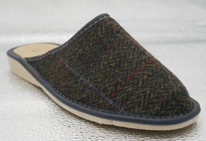 e8b29cfa33d87 Womens Irish tweed & leather slippers - forest green herringbone with  overcheck - MADE IN IRELAND