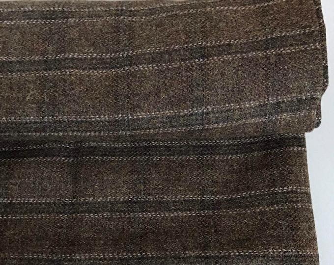 Irish tweed wool fabric -FREE WORLDWIDE SHIPPING- brown tartan-plaid - 100%wool-10ozs,280gms -price per metre -lightweight-  Made in Ireland