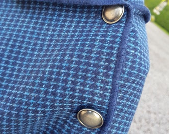 Versatile 3in1 - Irish lambswool poncho, cape & shawl - navy with blue check - ready for shipping - HANDMADE IN IRELAND