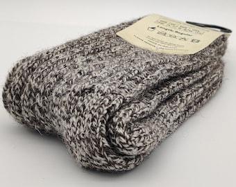 Irish thick wool socks - Snug socks in 100% pure new wool from Irish sheep - hiking socks - tawny tweed / cream/beige yarn - MADE IN IRELAND