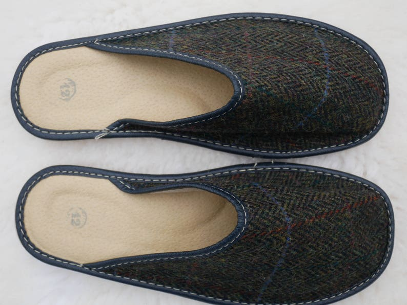 7e14b895072fa Irish Tweed & genuine leather slippers - with durable sole - moss green  herringbone/overcheck - ready for shipping - MADE IN IRELAND