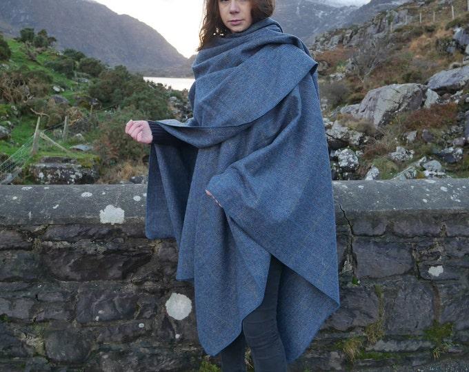 Irish Donegal Tweed Wool Ruana, Wrap, Cape, Cloak - Denim Blue & Grey Herringbone With Overcheck - 100% Pure New Wool - HANDMADE IN IRELAND