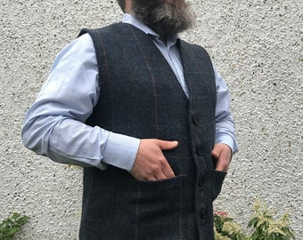 Traditional Irish 100% wool tweed waistcoat -FREE WORLDWIDE SHIPPING- navy&blue herringbone/overcheck - ready for shipping - Made in Ireland