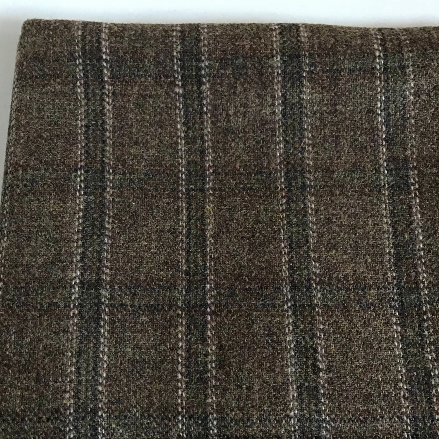 Irish tweed wool fabric -FREE WORLDWIDE SHIPPING- brown
