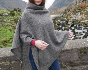 Irish felt wool poncho/cape with turtleneck - 100% wool - grey - very warm - ready for shipping - Handmade in Ireland - FREE SHIPPING