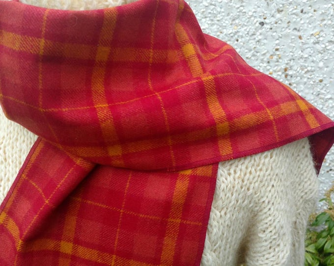 Irish tweed wool scarf - FREE WORLDWIDE SHIPPING -100% wool -red&yellow  tartan/]laid check -ready for shipping -unisex- Handmade in Ireland