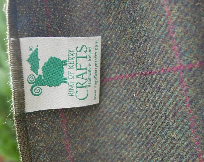 Irish lambswool scarf -100% pure new wool - green/purple overcheck - hand fringed - ready for shipping - unisex - HANDMADE IN IRELAND