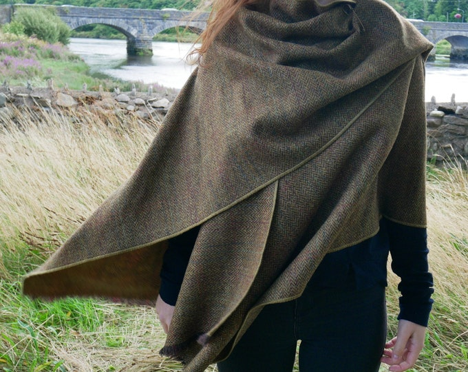 Irish Donegal Tweed Wool Ruana,wrap,cape,coat,arisaid -bronze/brown herringbone with over check - 100% wool - HANDMADE IN IRELAND