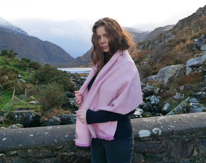 Irish tweed shawl,oversized scarf,stole-pink & white chevron- 100% wool -hand fringed -woven wool - ready for shipping - HANDMADE IN IRELAND