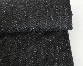 Irish tweed wool fabric-FREE WORLDWIDE SHIPPING-black&grey herringbone-100%wool-15ozs,450gms-price per metre-ready 4shipping-Made in Ireland