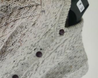 Kids Irish Aran cardigan sweater - 100% Pure New Wool  - cream with fleck - really warm and chunky - MADE IN IRELAND
