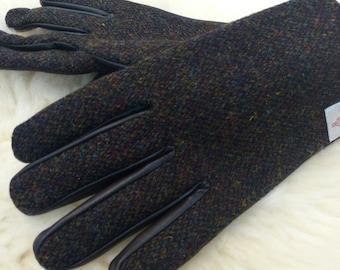 Mens Harris Tweed & genuine leather gloves- FREE SHIPPING- brown/green melange Harris Tweed-soft brown leather-warm lining - Made In Ireland